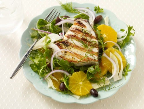 Gluten free grilled swordfish with orange fennel salad recipe