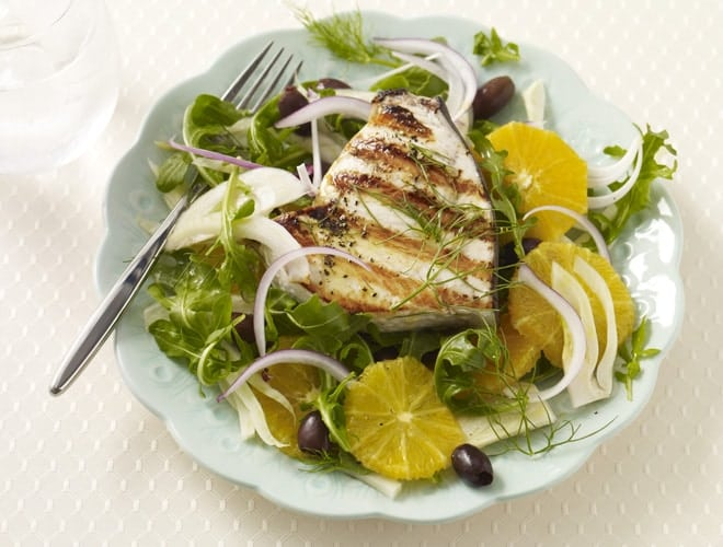 Gluten free grilled swordfish with orange fennel salad recipe for Sword fish recipes