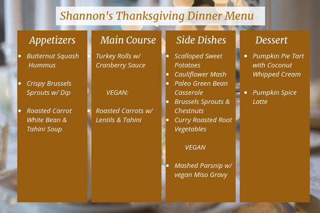 Shannons Thanksgiving Dinner Menu